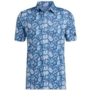 adidas Cobblestone-Print Recyced Content Golf Polo Shirt - GU2661 AQUA/VLT - XXL