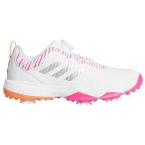 adidas Junior CodeChaos BOA Golf Shoes 2020 - White/Pink/Amber