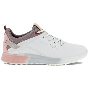 ECCO Womens S-Three Golf Shoes White/Silver Pink