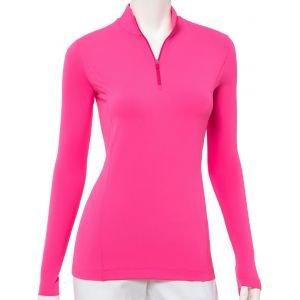 EPNY Womens Long Sleeve Zip Mock Golf Polo