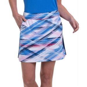 EPNY Women's 17.5 Inch Crossed Etched Plaid Print Contrast Blocking Golf Skort