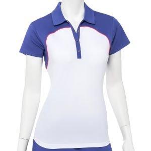 EPNY Women's Cap Sleeve Color Block Filament Tape Trim Golf Polo