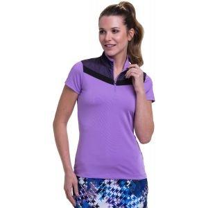 EPNY Women's Cap Sleeve Mesh Overlay Contrast Trim Zip Mock Golf Polo