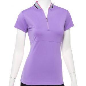 EPNY Women's Cap Sleeve Zip Mandarin Collar Golf Polo