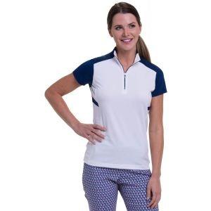 EPNY Women's Cap Sleeve Zip Mock Angled Wrap Around Color Blocking Golf Polo