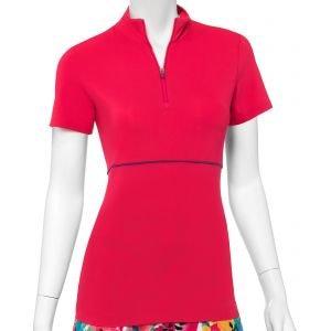 EPNY Women's Color And Mesh Block Zip Mock Golf Polo