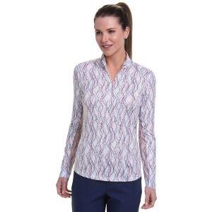 EPNY Women's Long Sleeve Multi Abstract Lattice Print Zip Mock Golf Polo