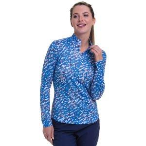 EPNY Women's Long Sleeve Multi Diamond Print Zip Mock Golf Polo