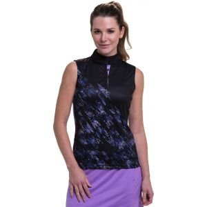 EPNY Women's Sleeveless Bias Broken Texture Placed Print Golf Polo