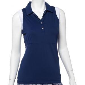 EPNY Women's Sleeveless Color Block Filament Tape Trim Golf Polo