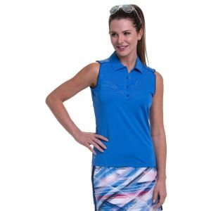 EPNY Women's Sleeveless Contrast Piping Detail Golf Polo