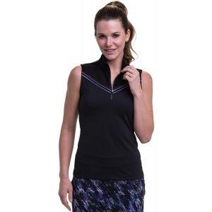 EPNY Womens Sleeveless Convertible Collar Zip Golf Polo with Piping Yoke Detail