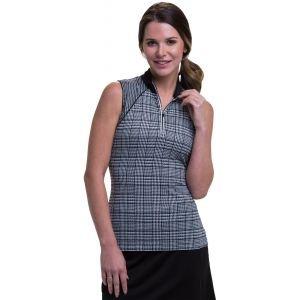 EPNY Womens Sleeveless Plaid Houndstooth Print Golf Polo