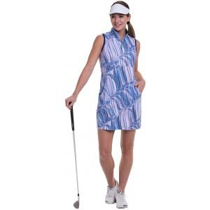 EPNY Women's Sleeveless Tricolor Swirling Waves Print Contrast Trims Golf Dress