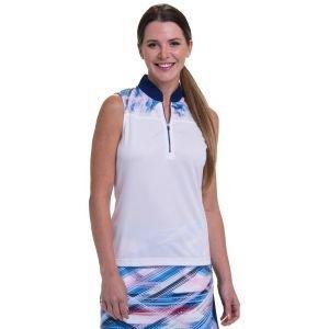 EPNY Women's Sleeveless Zip Mandarin Collar Cross Etched Placked Print Golf Polo