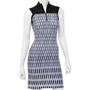 EPNY Womens Zig Zag Tricolor Geo Border Print Golf Dress