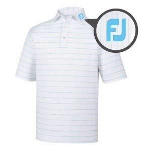 FootJoy Lisle Double Pin Stripe Golf Polo White/Aqua - 25739 FJ Tour Logo