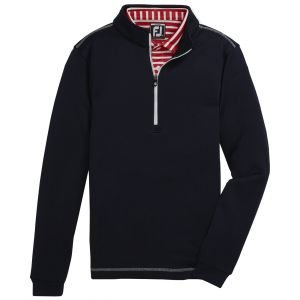 FootJoy Junior Boys Half-Zip Contrast Stitch Mid-Layer Golf Pullover Navy 25198
