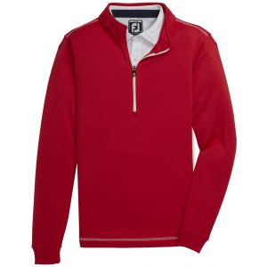 FootJoy Junior Boy's Half-Zip Contrast Stitch Mid-Layer Golf Pullover Red 25199