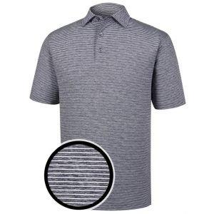 FootJoy Heather Pinstripe Lisle Self Collar Golf Polo Shirt Navy/White - 27419