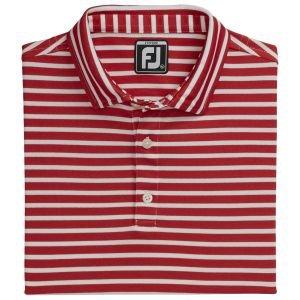 FootJoy Junior Boys Striped Pique Self Collar Golf Polo Red/White 26636