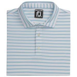 FootJoy Junior Boy's Striped Pique Self Collar Golf Polo White/Light Blue 26637