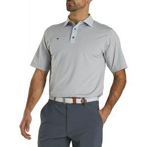 FootJoy Lisle Solid Pinstripe Trim Self Collar Golf Polo Heather Grey 26554