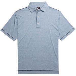 FootJoy Lisle Space Dye Microstripe Self Collar Golf Polo - Royal/White 26172