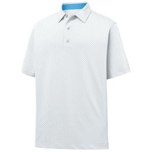 FootJoy Stretch Lisle Dot Print Self Collar Golf Polo White/Light Blue 26613