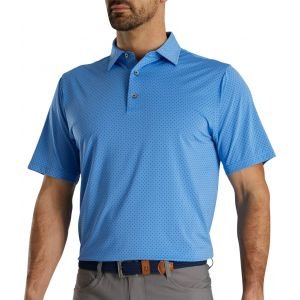 FootJoy Stretch Lisle Dot Print Self Collar Golf Polo