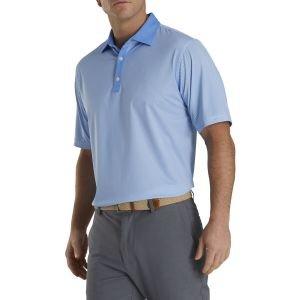 FootJoy Stretch Lisle Mini Check Print Golf Polo Lagoon/White 26627