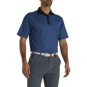 FootJoy Stretch Lisle Mini Check Print Golf Polo Navy/Blue 26631