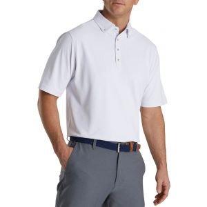 FootJoy Stretch Pique Floral Trim Buttondown Collar Golf Polo