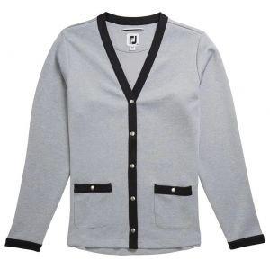 FootJoy Womens Double Jersey Knit Golf Cardigan - Heather Grey/Black