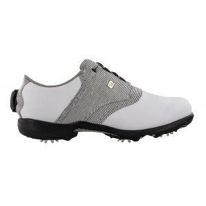 FootJoy Womens Dryjoys BOA Golf Shoes White Leather/Zebra Saddle - 99018