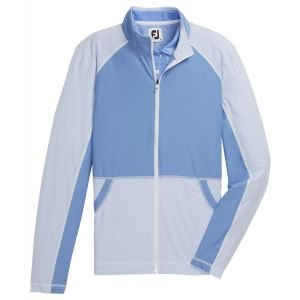 FootJoy Women's Full-Zip Mini-Stripe Golf Mid-Layer Blue/White 27656