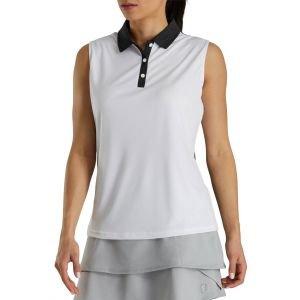FootJoy Women's Sleeveless Jacquard Back Golf Polo Shirt White