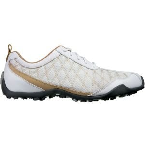 FootJoy Womens Superlites Spikeless Golf Shoes White/Tan 98847 - ON SALE