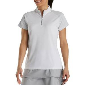FootJoy Women's Zip Placket Golf Polo Shirt White