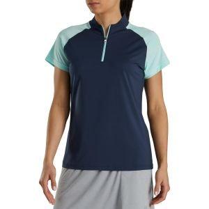 FootJoy Women's Zip Placket Golf Polo Shirt Navy 27913