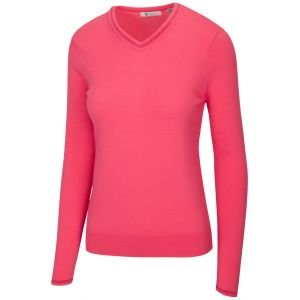 Greg Norman Women's Lurex Tipped V-Neck Golf Sweater