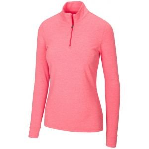 Greg Norman Women's Peach Heathered Comfort Stretch 1/4 Zip Golf Pullover