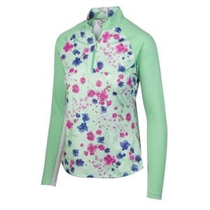 Greg Norman Womens Solar XP 1/4 Zip Botanical Floral Golf Pullover - ON Sale