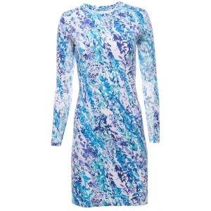 Ibkul Womens Cat Cay Print Long Sleeve Crew Neck Golf Dress - 59518