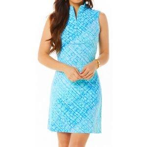 Ibkul Womens Liz Print Sleeveless Mock Golf Dress - 56513