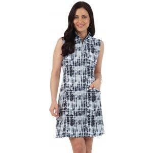 IBKUL Women's Rue Print Sleeveless Mock Golf Dress
