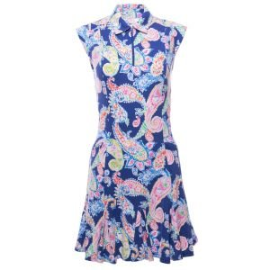 Ibkul Womens Sharon Print Sleeveless Polo Golf Dress - 50516