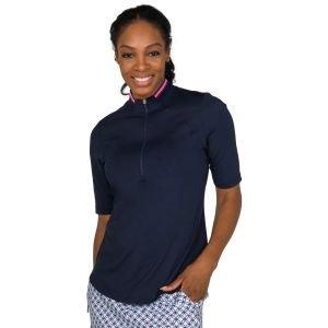 JoFit Women's Half Sleeve Rib Collar Mock Golf Polo