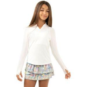 Lucky In Love Junior Girls Manadarin Collar Long Sleeve Golf Top