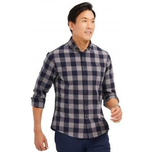 Mizzen+Main City Flannel Long Sleeve Button Down Golf Shirt - Navy Large Check